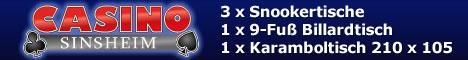 3 Snookertische, 1 Karambolagetische 210 x 105  und 1 Billardtisch 9-Fuß